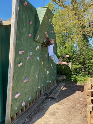 Max and his Dad built a climbing wall!