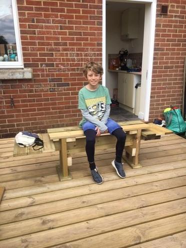 Oliver made this amazing bench with his dad! WOW!