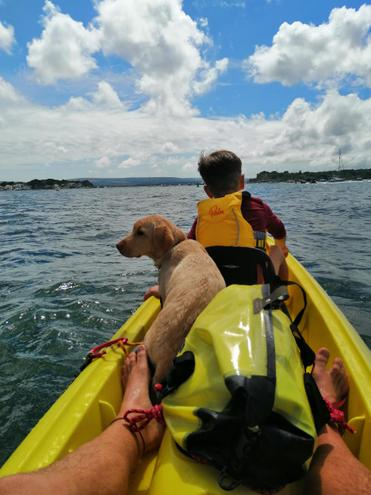 Kayaking with Theo and Luna (her first time).