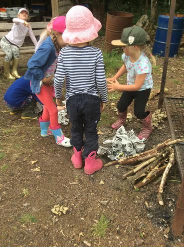 Building a fire.