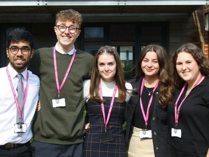 Aashish, Toby, Izzy, Lucy and Jess, Heads of Houses