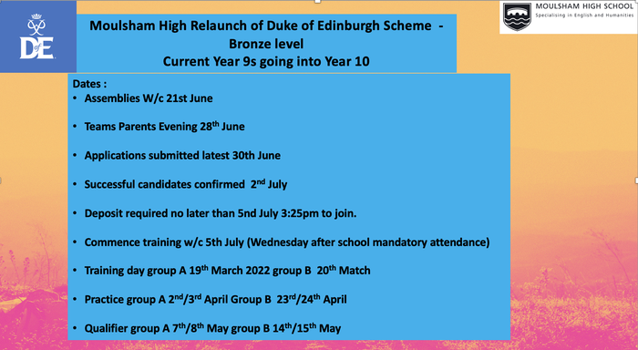 Year 11 Bronze DofE dates and information
