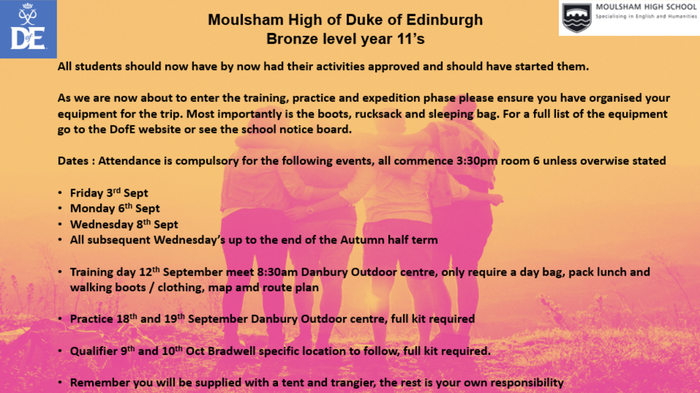 Year 10 Bronze DofE dates and information