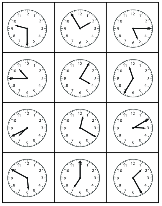 Can you put the times on these clock faces in order?