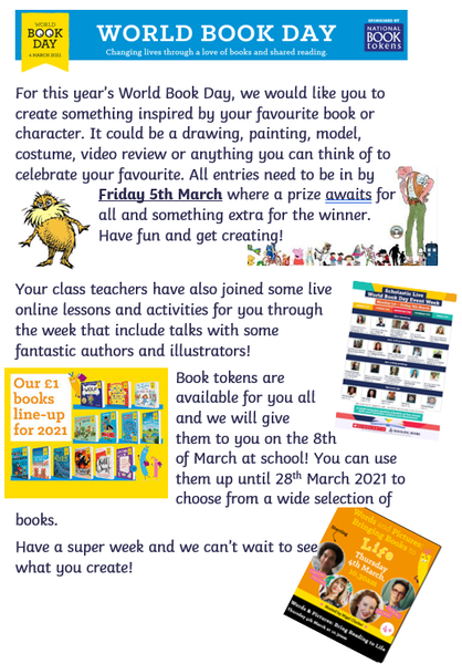 World book day is Thursday 4th March 2021 but we will be celebrating all week!