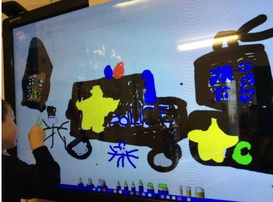 Using the interactive whiteboard to show my story