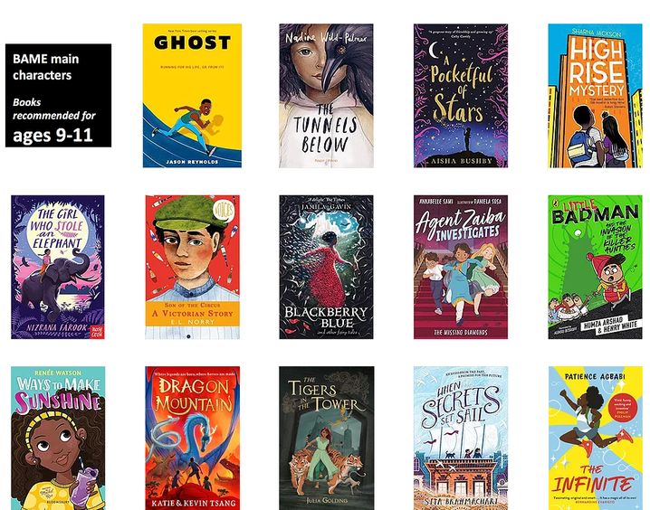 Book list with diverse lead roles: https://www.booksfortopics.com/bame-characters