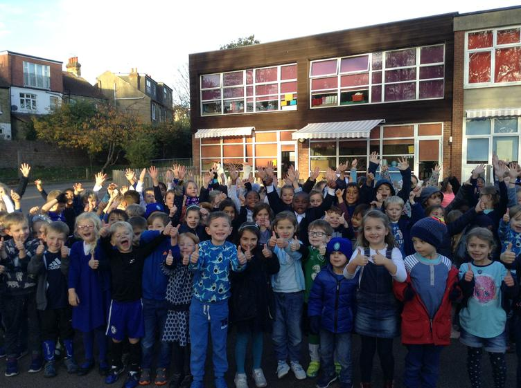 Year 1 & 2 on Blue Monday for Anti Bullying week