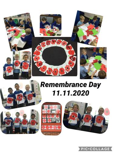 We created collage poppies and painted poppies for Remembrance Day.