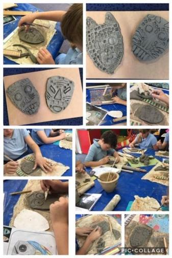 Making Aztec masks from clay.