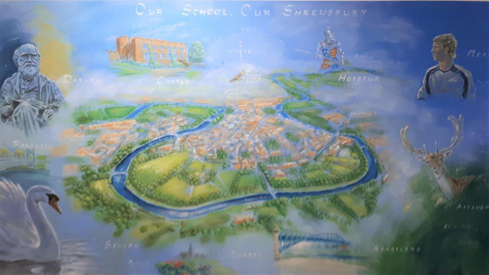 Corridor display: Mural of Shrewsbury Town.