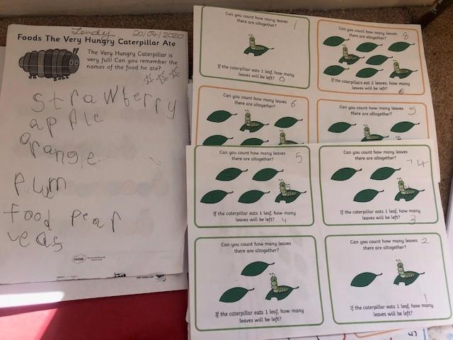 Zendy lists food caterpillar ate and subtraction
