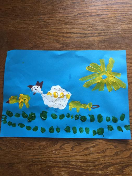 Max's chicks and chicken painting
