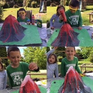 Finley and his amazing exploding volcano.
