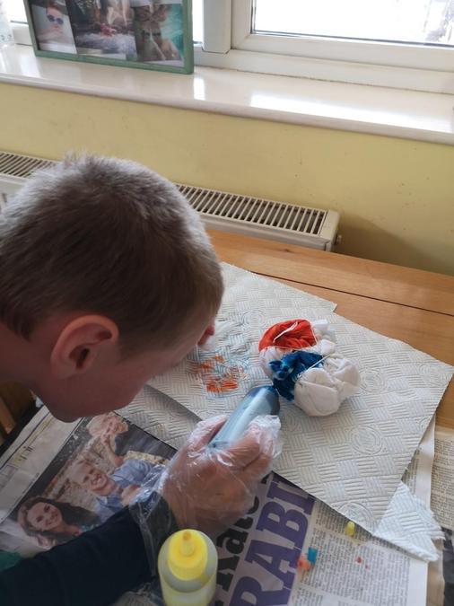 Preston about to do some amazing artwork.