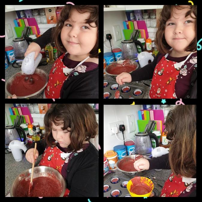Alice making cupcakes.