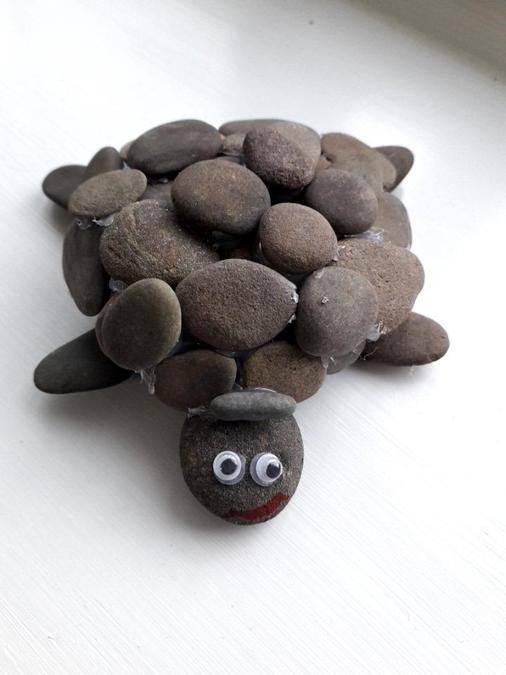 A stone sea turtle.
