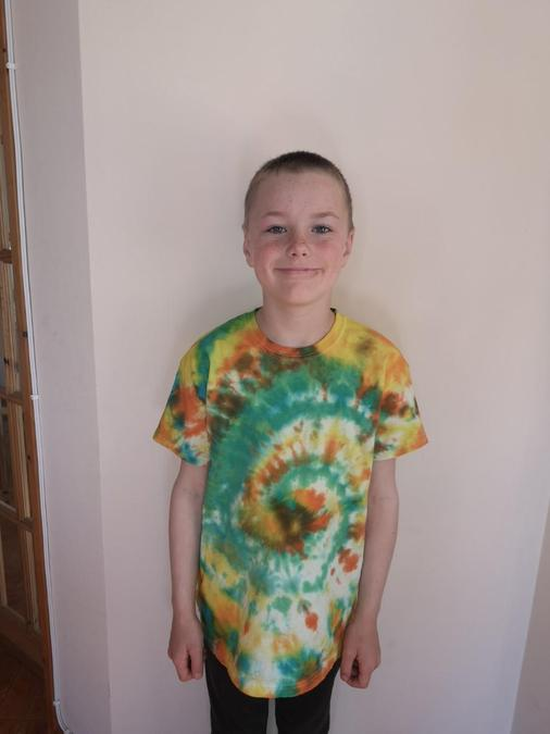 And look what he made - a tie-dyed shirt.