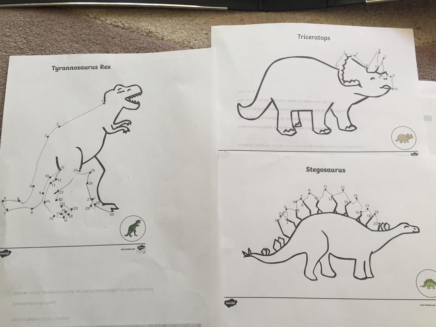 Max's dinosuar dot to dot