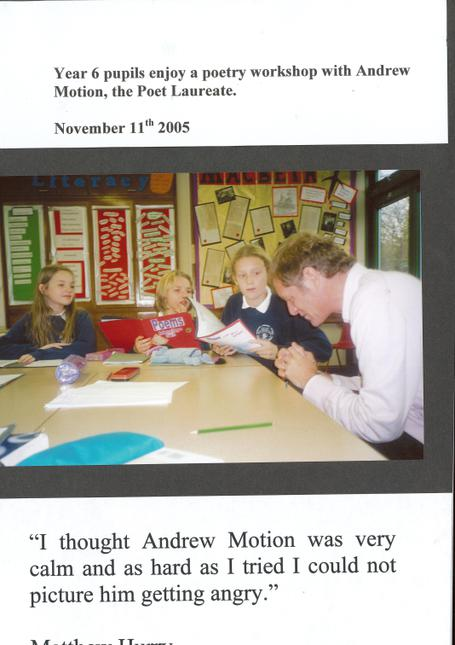 2005 Andrew Motion Visits Thanks to Sue Hancock
