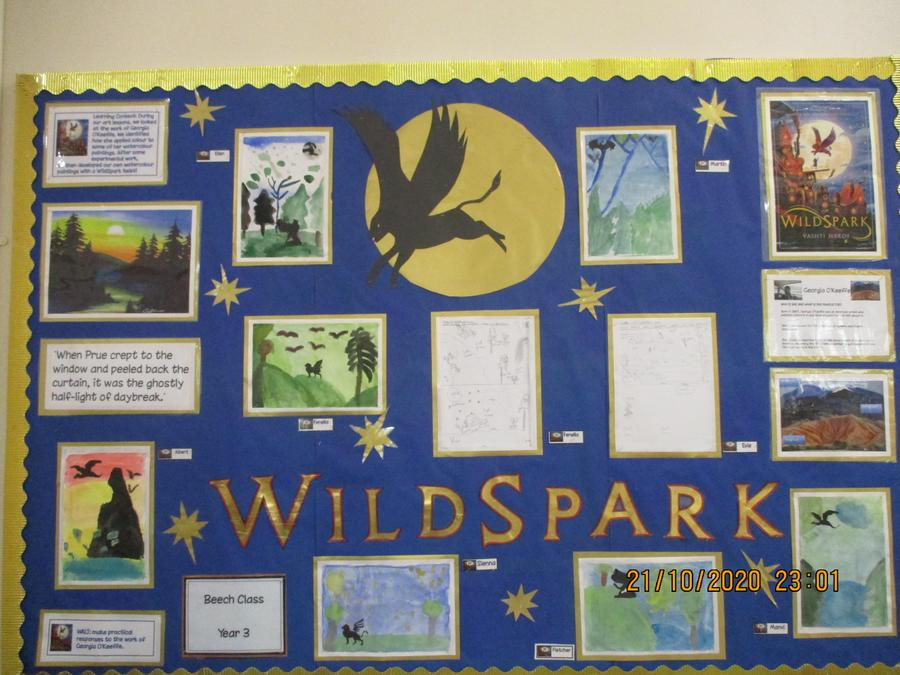 The children have created some beautiful fantasy pictures inspired by the class text.