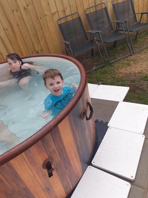 Enjoying the hot tub!