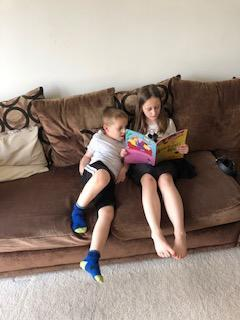 Reading together.