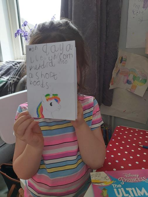 Mia's fantastic story using or words.