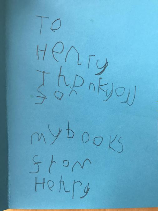 Henry wrote a thank you note for a friend.