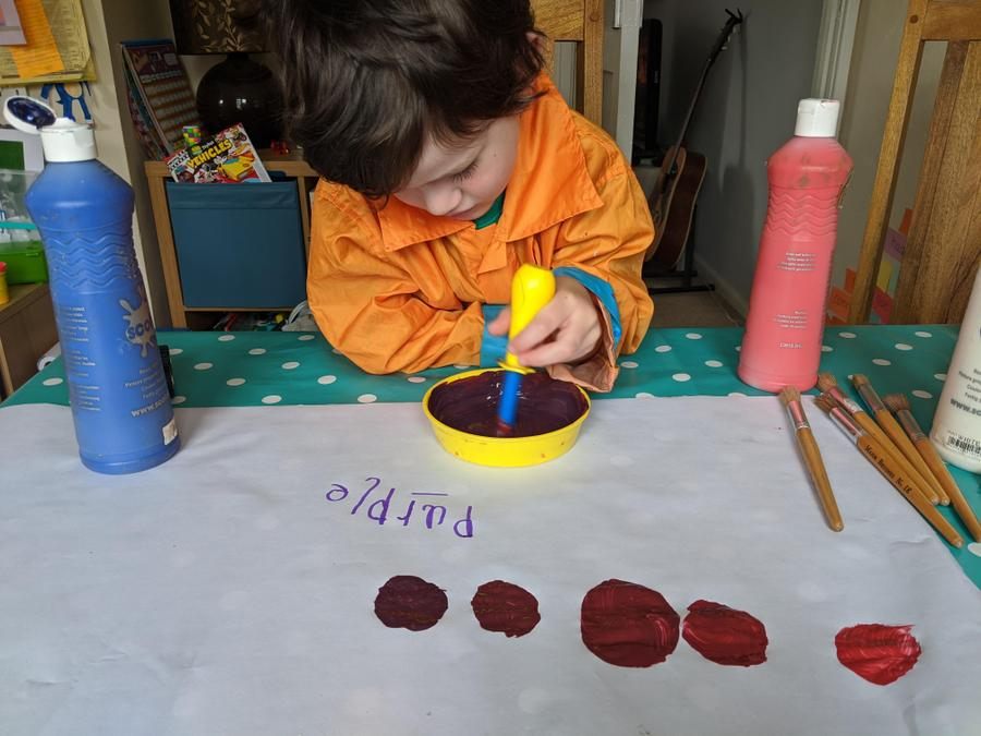Colour mixing to make purple