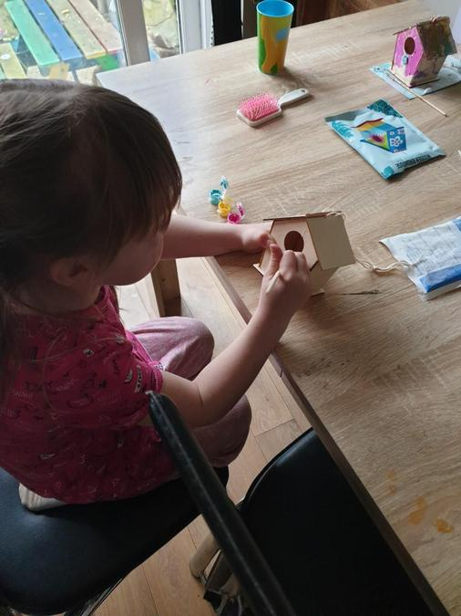 Making a bird house.