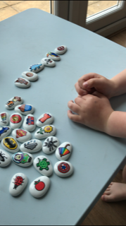 Using story stones to make up stories