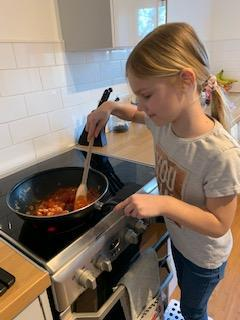 Helping to cook the dinner