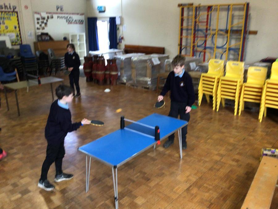 Children enjoying the new table tennis equipment