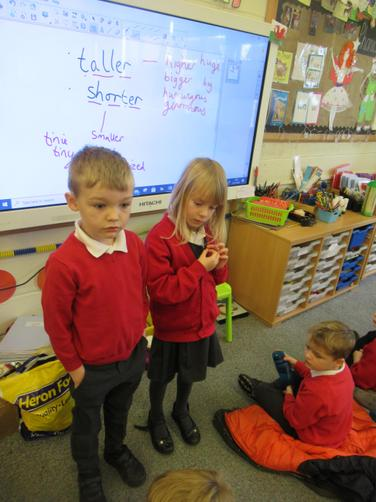 We compared two children from our class using the keywords- Taller and Shorter
