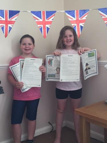 Amy and Tia preparing for VE Day