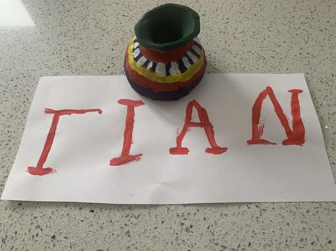 Cian's name in Greek and finished pot!