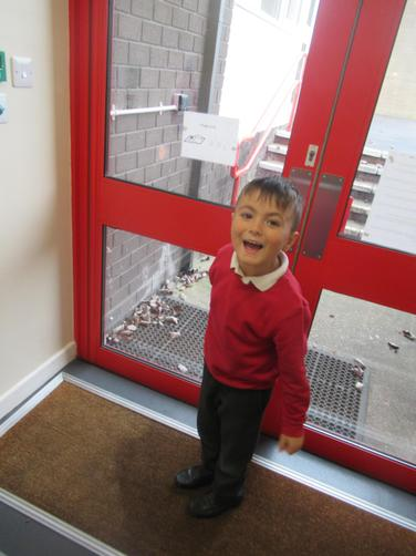 We explored some actual 3D shapes- he spotted the door was a cuboid.