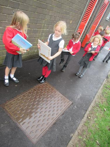 We explored the drain - rectangle, but if you look closely- lots of diamonds.