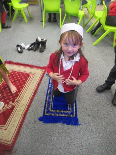 Ines on her prayer mat