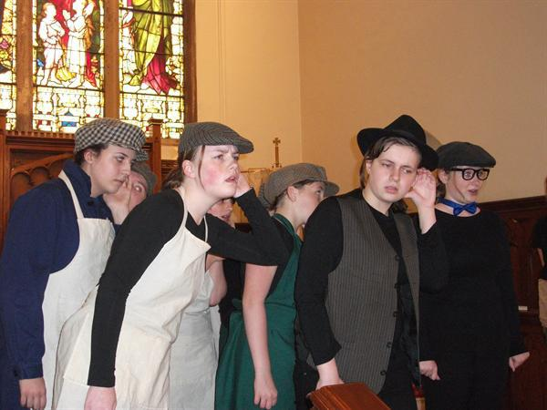 Performing as the shipbuilders from the Titanic