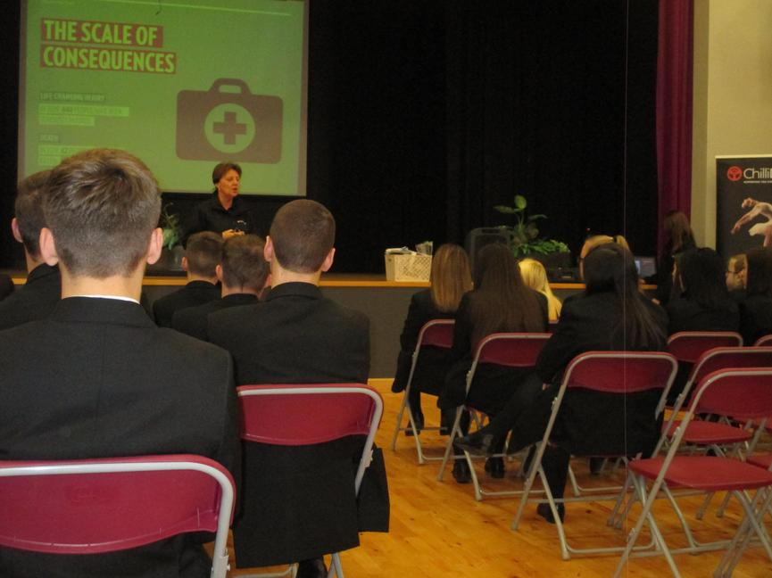 All MVRUS and year 12 students in the Chilli Drive Road Safety talk