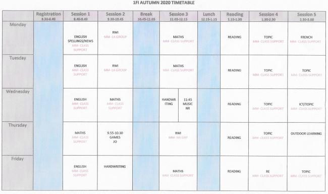 Weekly Timetable 1FI