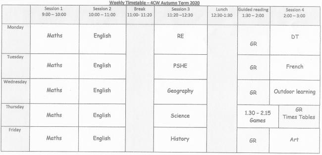Weekly Timetable 4CW