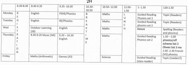 Weekly Timetable 2H