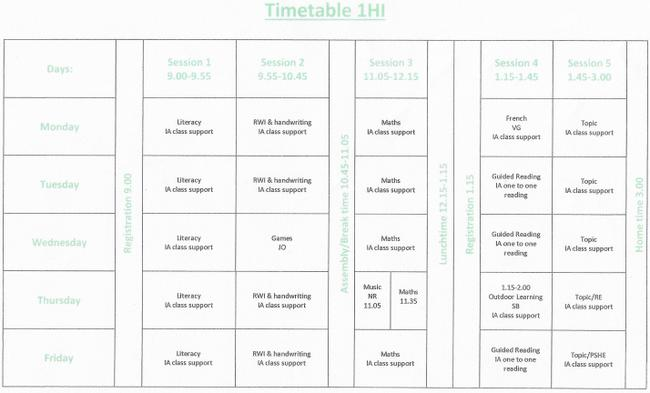 Weekly Timetable 1HI