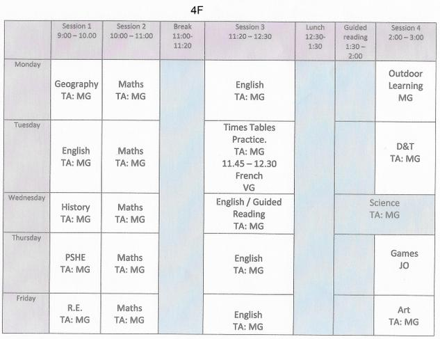 Weekly Timetable 4F