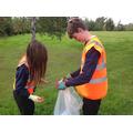 Litter picking team work