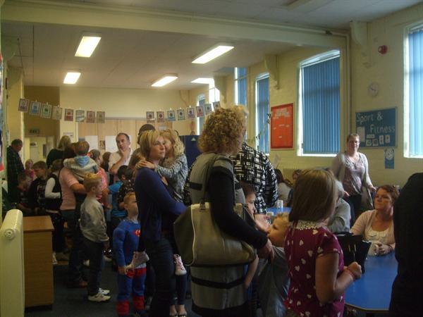 Parents queue at MacMillan Coffee Morning 25.9.14