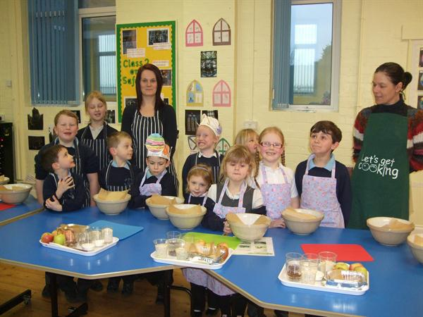 Lets Get Cooking Cookery Club with parent helpers